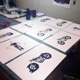 Printmaking Motorcycles
